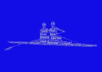 Rowing Print - White on Blue