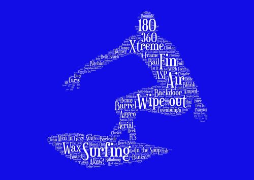 Surfing Print - White on Blue
