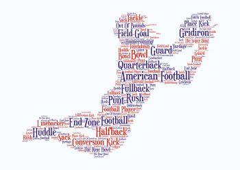 American Football Print - Coloured on White