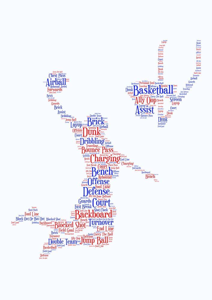 Basketball Print - Coloured on White