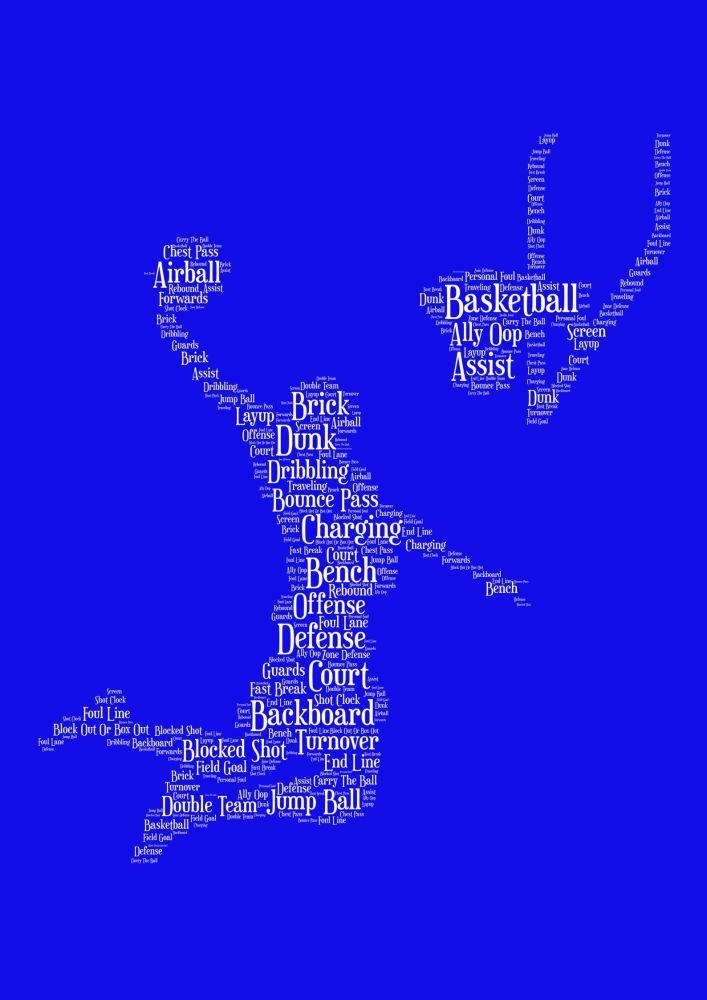 Basketball Print - White on Blue