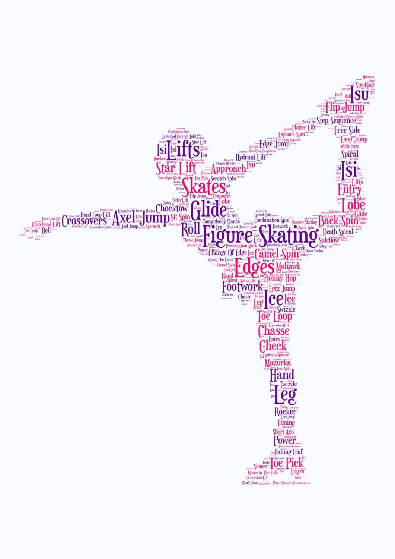 Figure Skating Print - Coloured on White