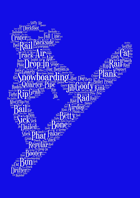 Snowboarding Print - White on Blue