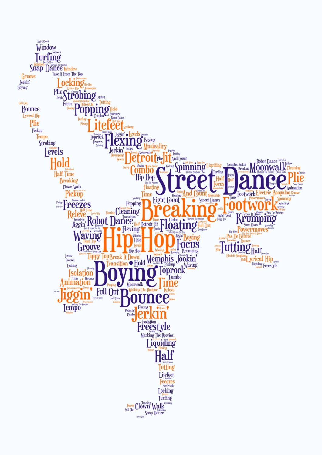 Streetdance Print - Coloured on White