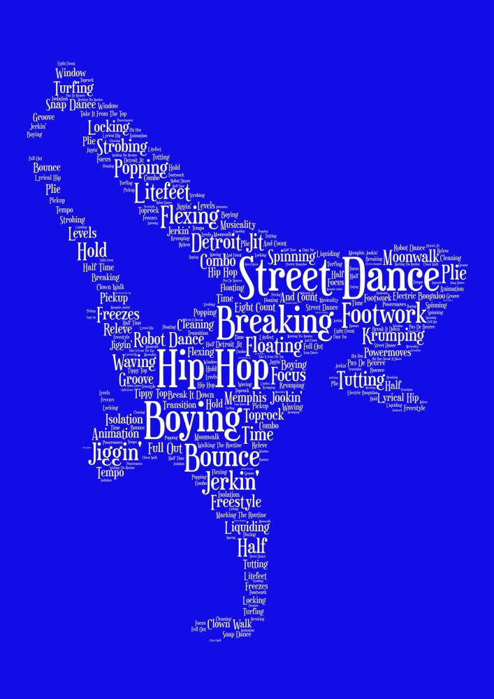 Streetdance Print - White on Blue