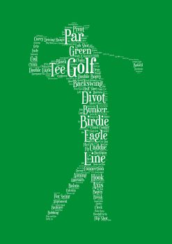 Golf Print - White on Green