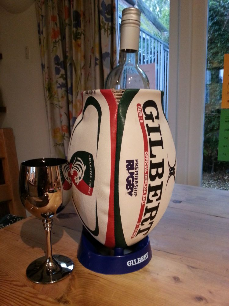 2ND ONLY - Leicester Tigers Rugby Ball Wine Cooler