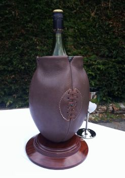 2nd ONLY Vintage Style Rugby Ball Wine Cooler on Wooden Base