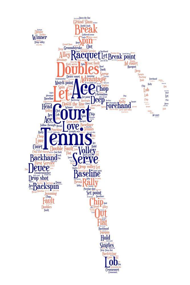 Tennis Print - Coloured on White