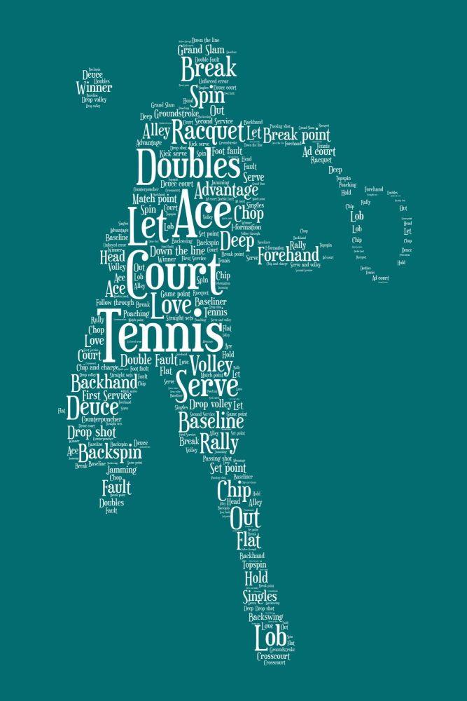 Tennis Print - White on Green