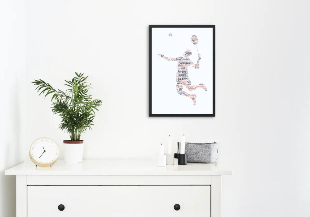 Badminton Print - Coloured on White