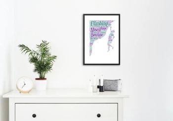 Climbing Print - Coloured on White