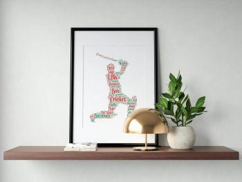 Cricket Print - Coloured on White