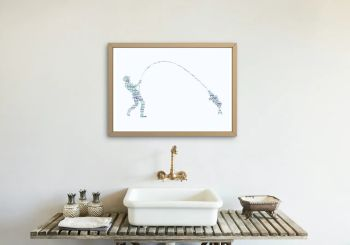 Fly Fishing Print - Coloured on White