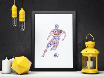 Football Print - Coloured on White