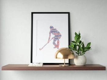 Hockey Print - Coloured on White