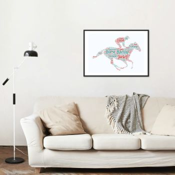 Horse Racing Print - Coloured on White