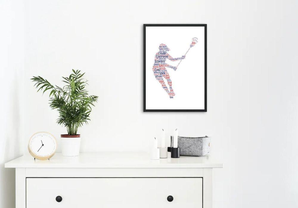Lacrosse Print - Coloured on White