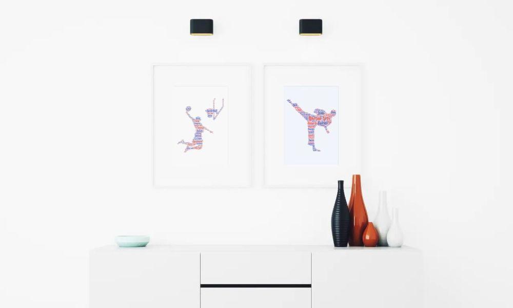 Martial Art Print - Coloured on White