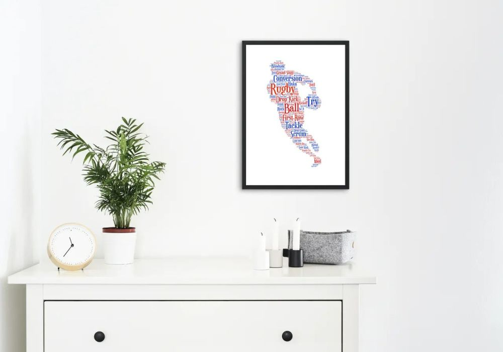Rugby Print - Coloured on White