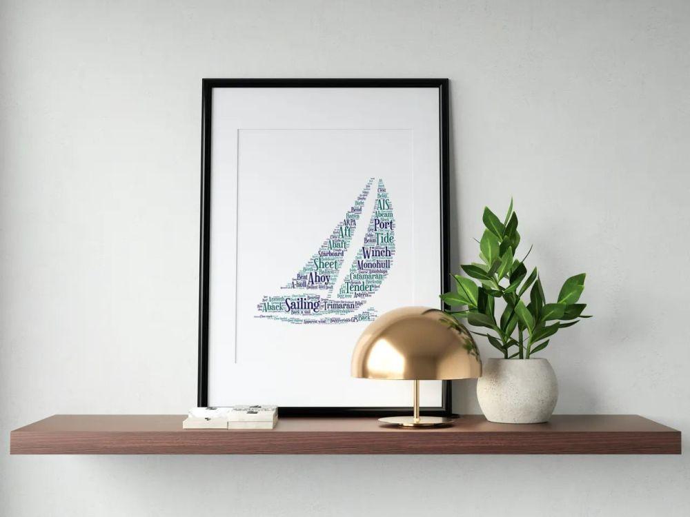 Sailing Print - Coloured on White
