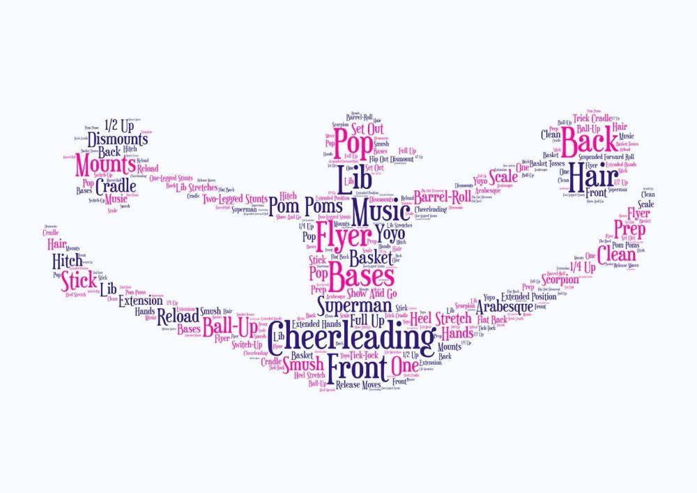 Cheerleading - Coloured on White