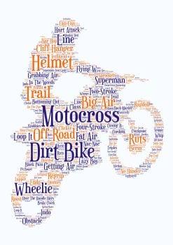 Motocross Print - Coloured on White