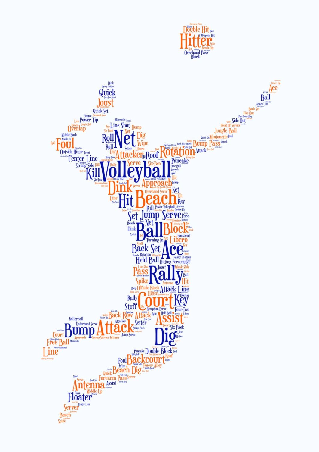 Volleyball Print - Coloured on White