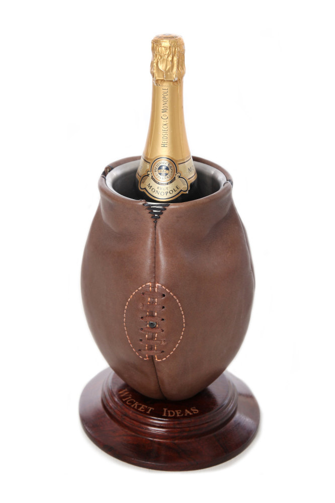 Vintage Style Rugby Ball Wine Cooler on Wooden Base with Engraving