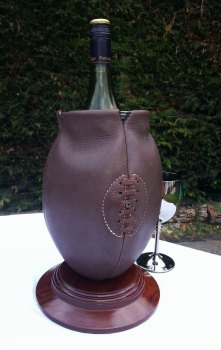 Vintage Style Rugby Ball Wine Cooler on Wooden Base