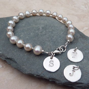White Pearl Single Letter Charm Bracelet