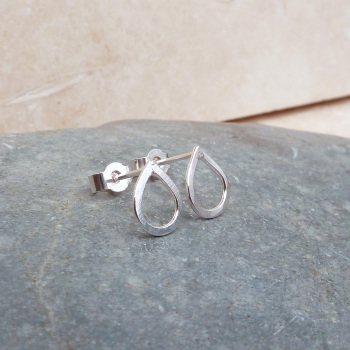 Sterling Silver Small 10mm Tear Drop Stud Earrings