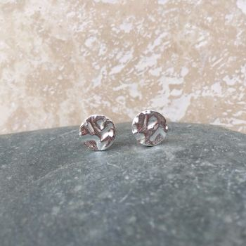 Fine Silver Hammered 8mm Round Stud Earrings
