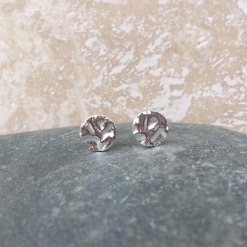 Hammered Round Silver Stud Earrings