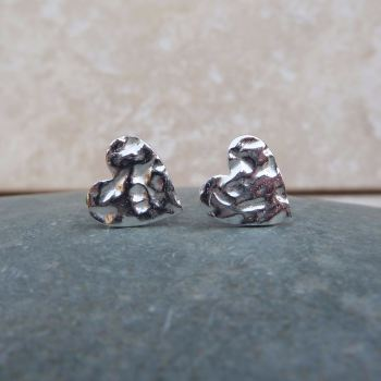 Fine Silver 10mm Hammered Heart Stud Earrings
