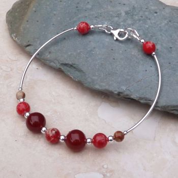 Red Jasper and Carnelian Bangle