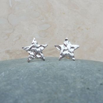 Fine Silver Hammered 10mm Star Stud Earrings