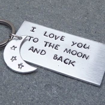 I Love You to the Moon and Back Handstamped Keyring