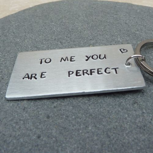 To Me You Are Perfect Handstamped Keyring
