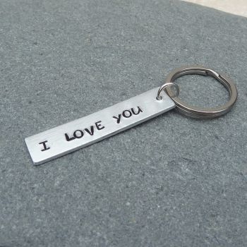 I Love You Handstamped Keyring