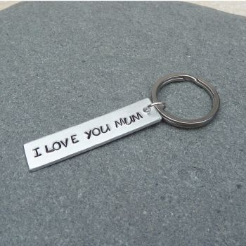 I Love You Mum Handstamped Keyring