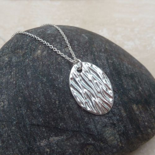 Silver Oval Line Textured Pendant