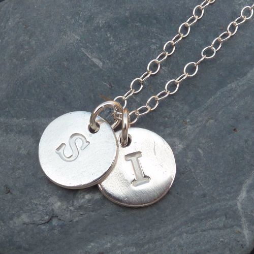Personalised Double Initial Silver Charm Necklace