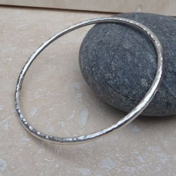 3mm Thick Sterling Silver Hammered Bangle