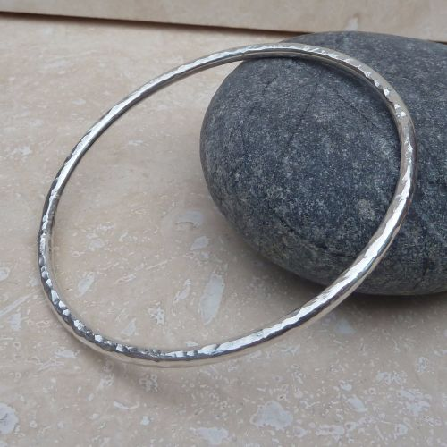 Chunky Sterling Silver Hammered Bangle
