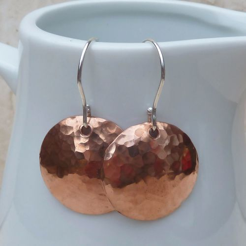Large Hammered Copper Dome Earrings