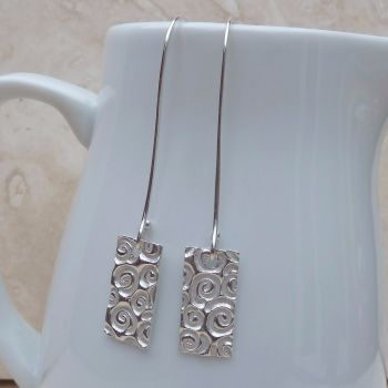 Fine Silver Patterned Rectangle Long Earrings