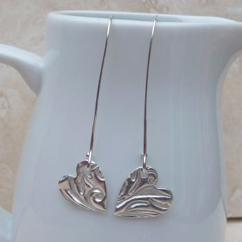 Fine Silver Patterned Heart Long Earrings