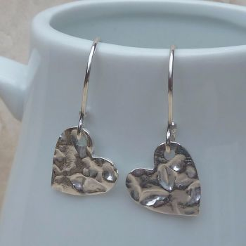 Fine Silver Hammered Heart Drop Earrings