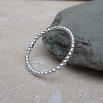 Silver Beaded Wire Ring - Made to Order